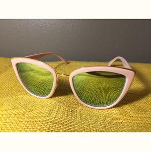Torrid pink w/green mirror lens cat eye sunglasses